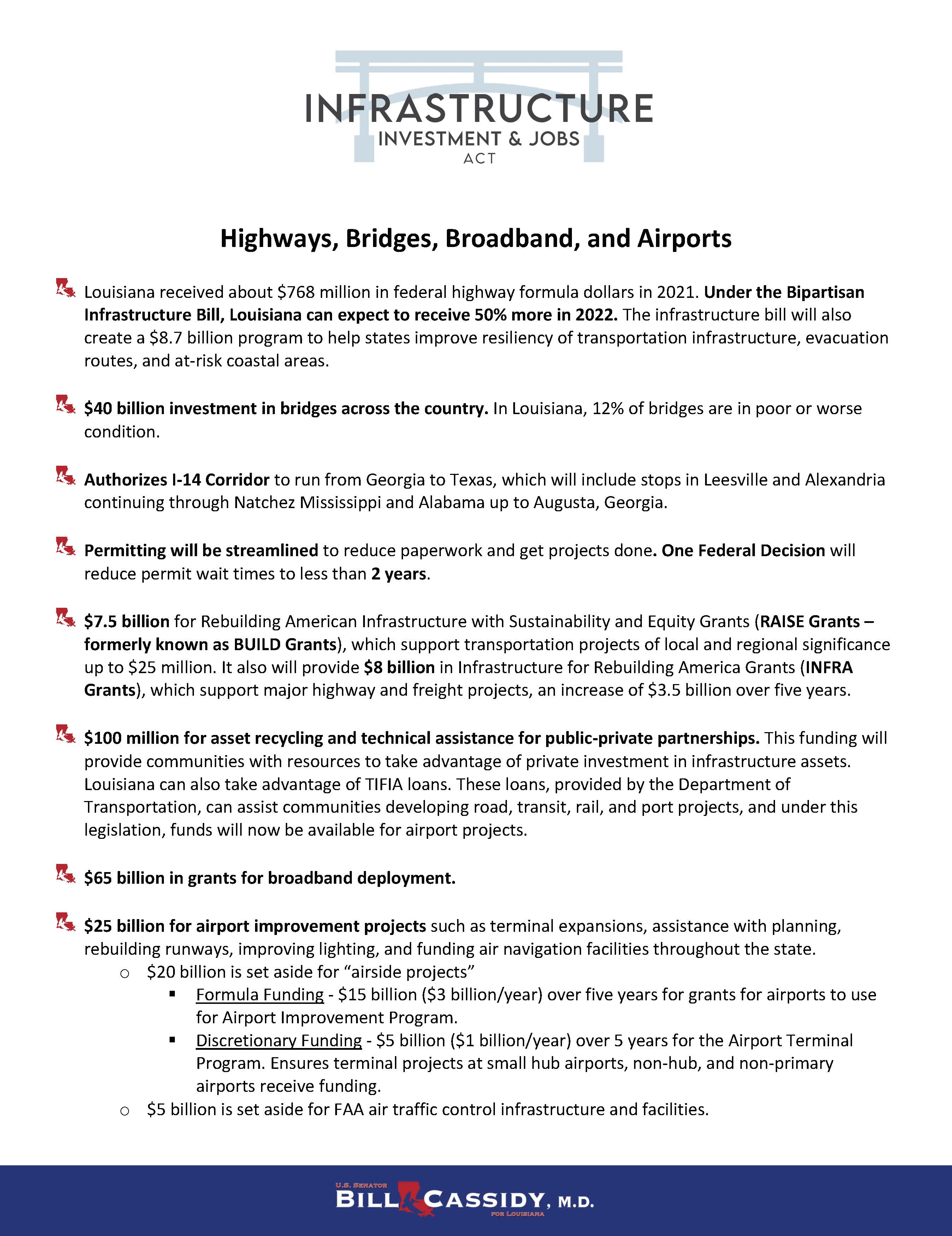 Highways, Bridges, Broadband, and Airports